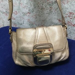 MICHAEL KORS Gold Leather Charlton Mini Flap Msgr